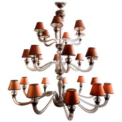 Large Vintage Twenty-Four-Light Murano Glass Chandelier