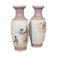Large Vintage Vases, Oriental, Ceramic, Baluster Urn, Stick Stand, Art Deco