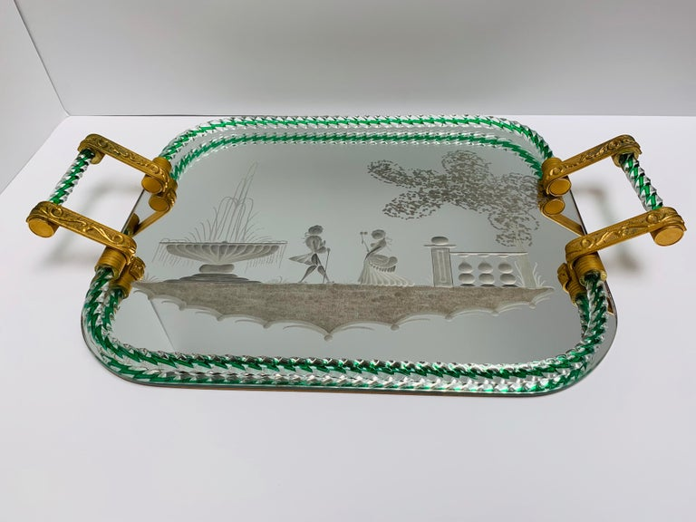Mid-Century Modern Large Vintage Venetian Mirrored Tray, Brass Cast Handles, Green Rope Detail For Sale