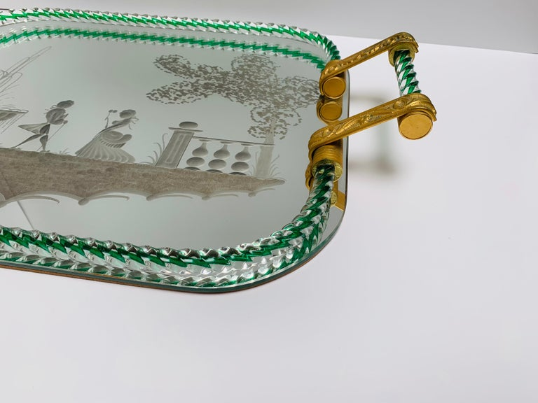 Italian Large Vintage Venetian Mirrored Tray, Brass Cast Handles, Green Rope Detail For Sale