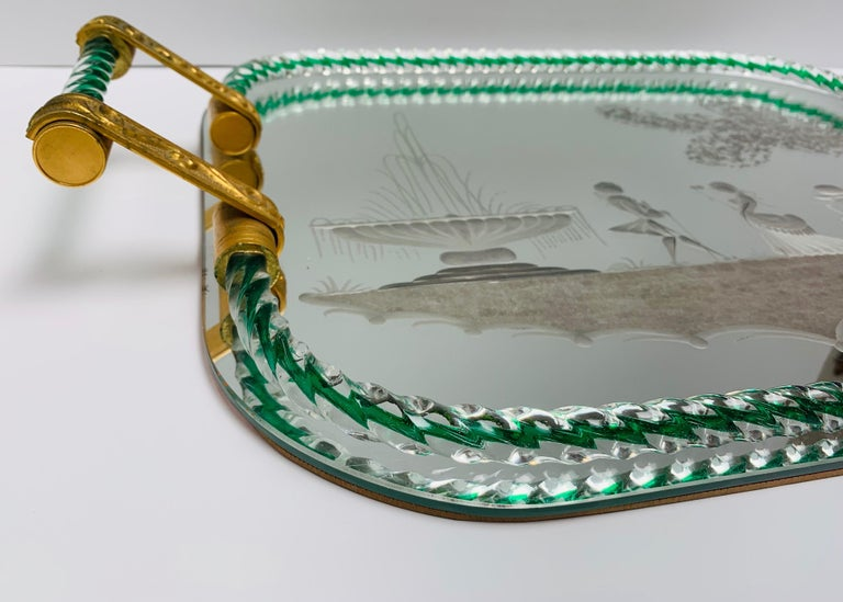 Large Vintage Venetian Mirrored Tray, Brass Cast Handles, Green Rope Detail In Good Condition For Sale In Los Angeles, CA