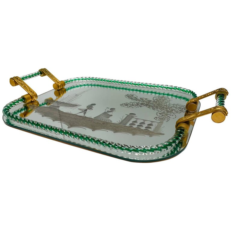 Large Vintage Venetian Mirrored Tray, Brass Cast Handles, Green Rope Detail For Sale