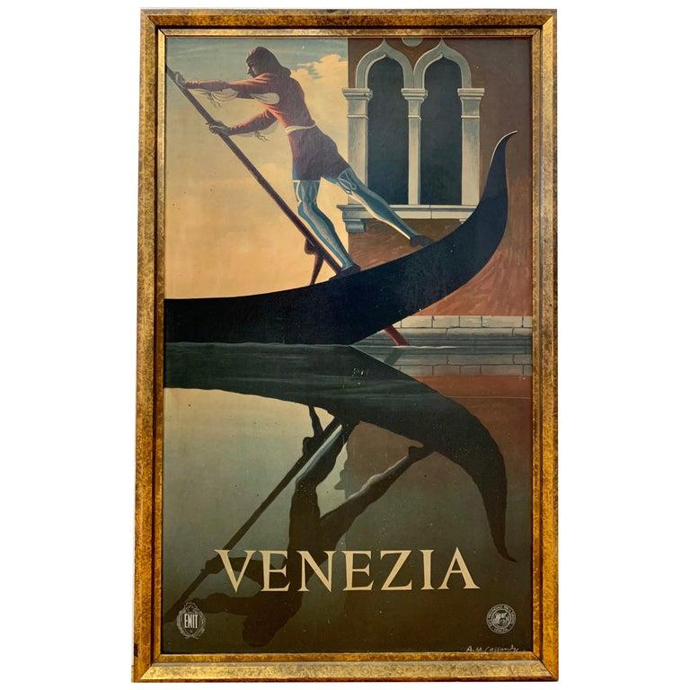 Large Vintage Venezia Venice Italy Framed Travel Poster