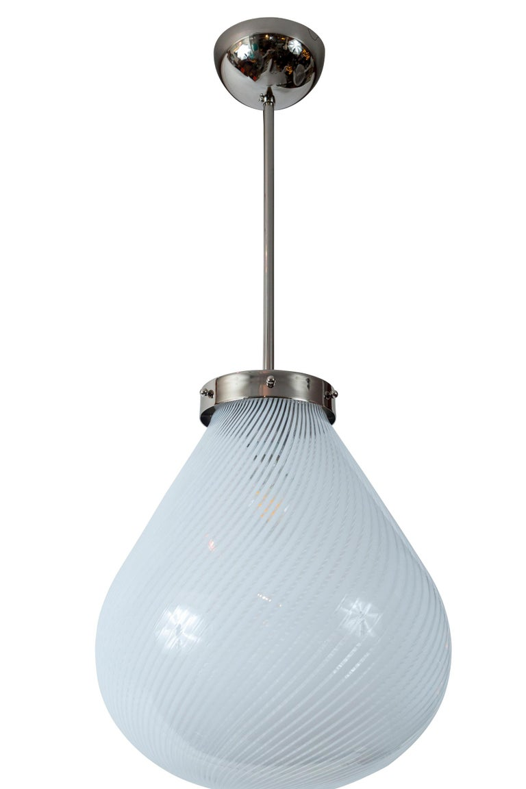 Mid-century glass blown swirl pendant in a unique form, hardware recent in nickel on brass. UL certified & re-electrified with one single medium base socket for up to 40 watts for an incandescent bulb or higher for with LED  Dimensions: 14?
