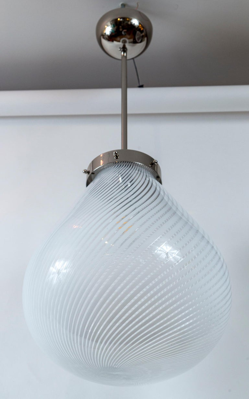 Mid-Century Modern Large Vintage Venini Tier-Drop Swirl Pendant Fixture For Sale