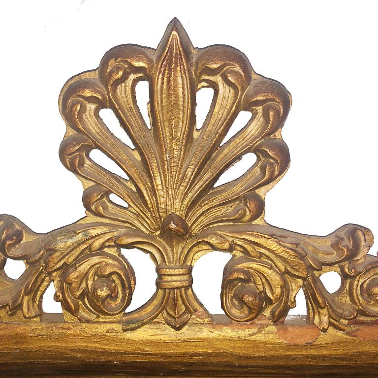 Large Vintage Victorian French Provincial Giltwood Mirror with Shell motif Crest For Sale 2