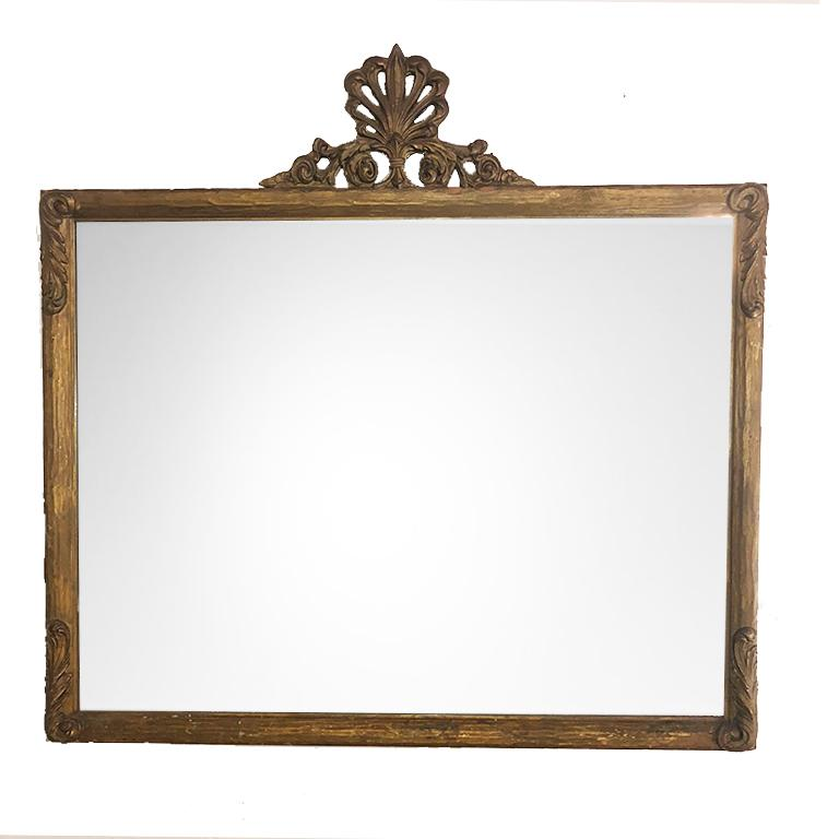 Large Vintage Victorian French Provincial Giltwood Mirror with Shell motif Crest For Sale 3