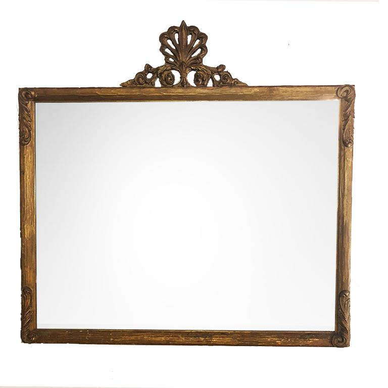 Large Vintage Victorian French Provincial Giltwood Mirror with Shell motif Crest For Sale