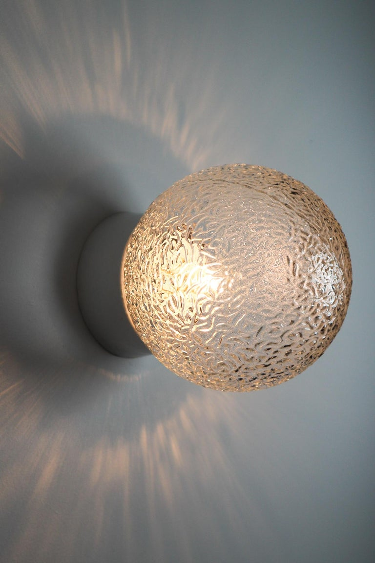 Industrial Large Vintage Wall/ceiling Lights with Glass and Porcelain Base, France, 1960s For Sale