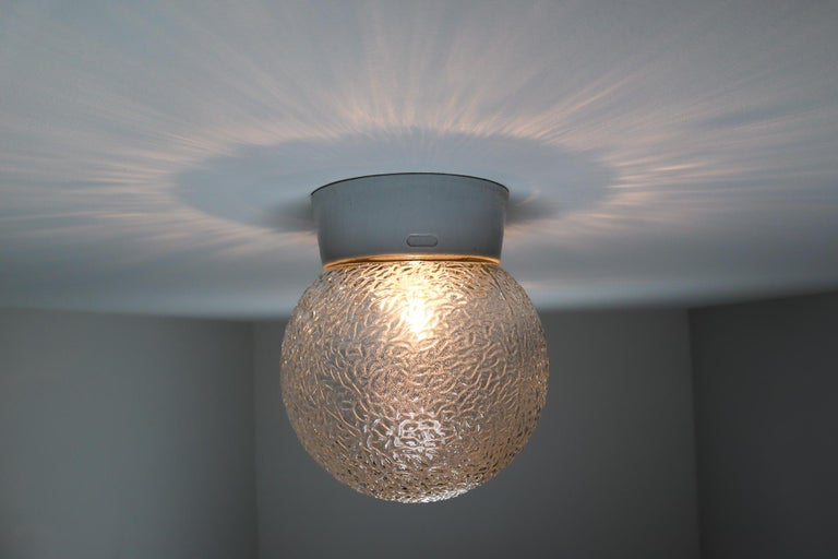 French Large Vintage Wall/ceiling Lights with Glass and Porcelain Base, France, 1960s For Sale