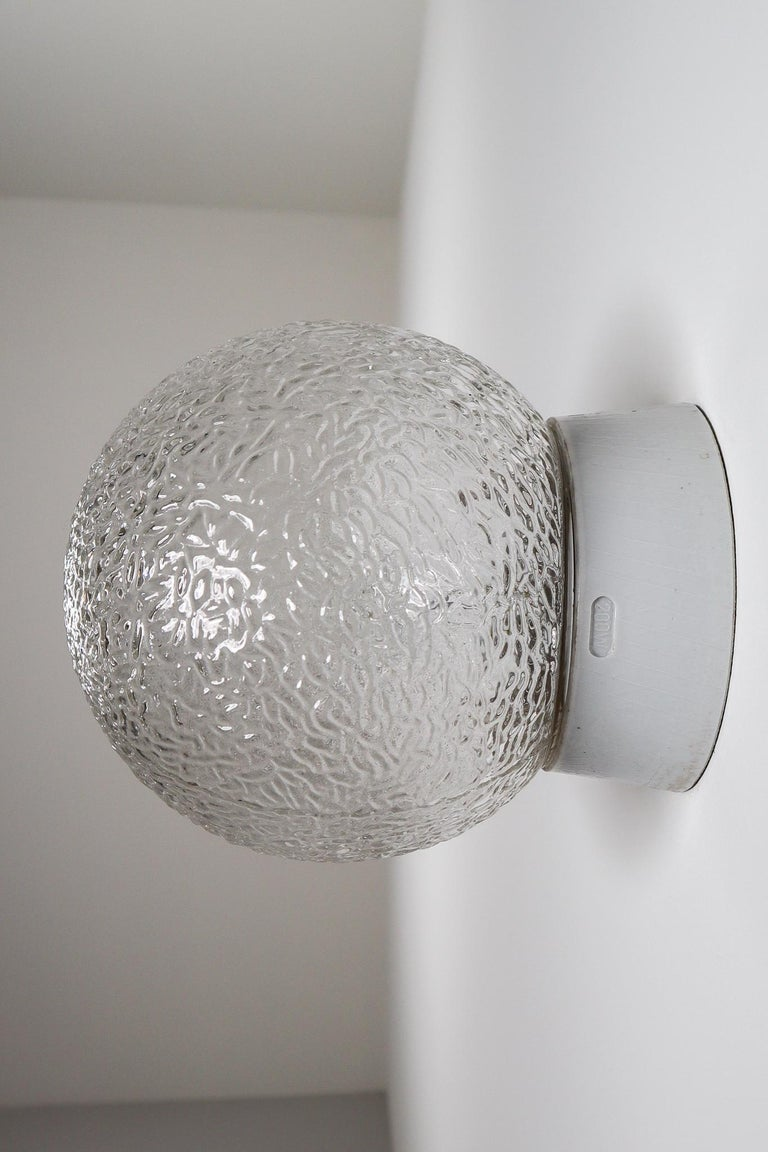 Large Vintage Wall/ceiling Lights with Glass and Porcelain Base, France, 1960s In Good Condition For Sale In Almelo, NL