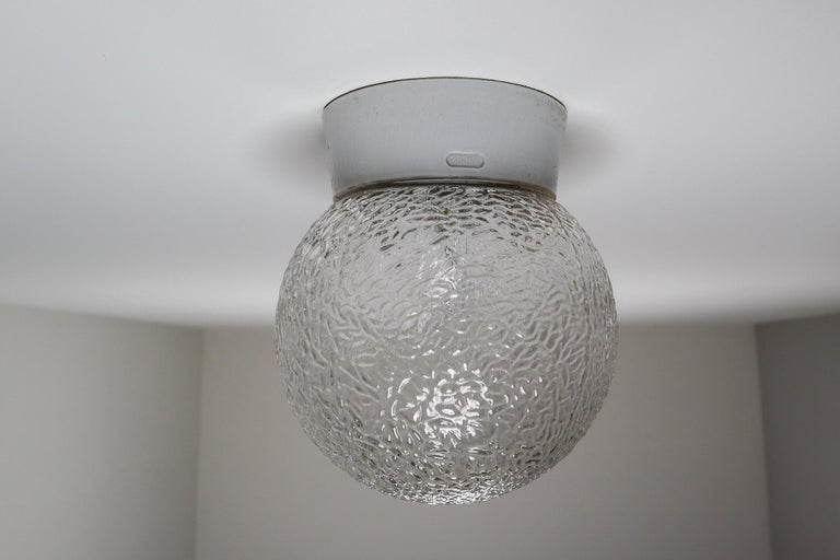 Mid-20th Century Large Vintage Wall/ceiling Lights with Glass and Porcelain Base, France, 1960s For Sale