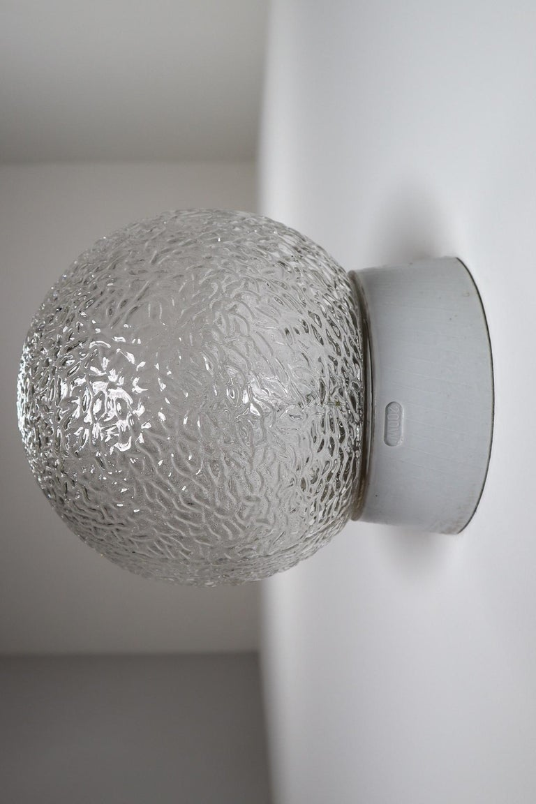 Large Vintage Wall/ceiling Lights with Glass and Porcelain Base, France, 1960s For Sale 1
