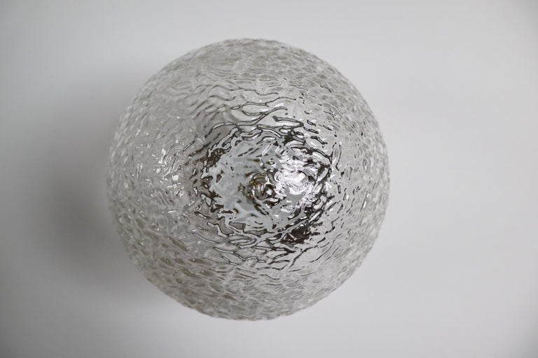 Large Vintage Wall/ceiling Lights with Glass and Porcelain Base, France, 1960s For Sale 3