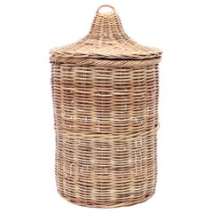 Large Vintage Wicker Basket with Lid, ca 1970s