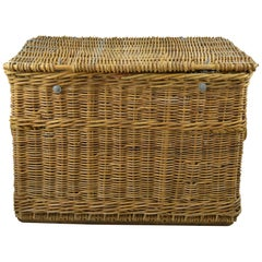 Large Vintage Wicker Travel Trunk or Log Basket