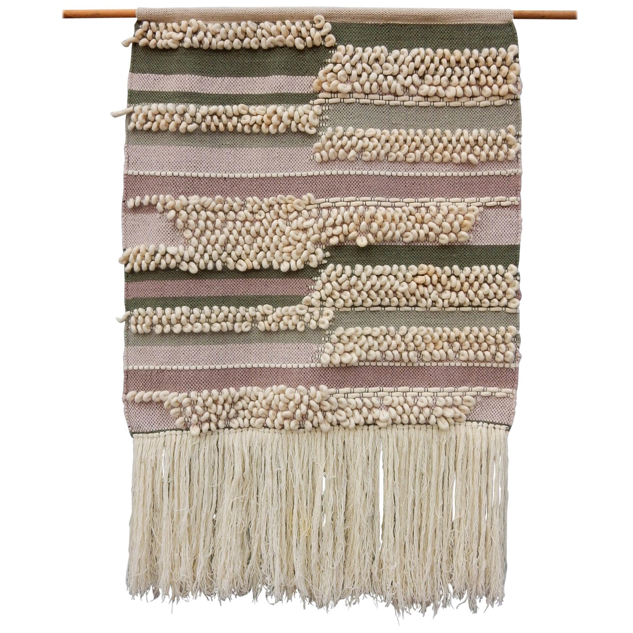 Large Vintage Wool Textile Fiber Art Wall Tapestry