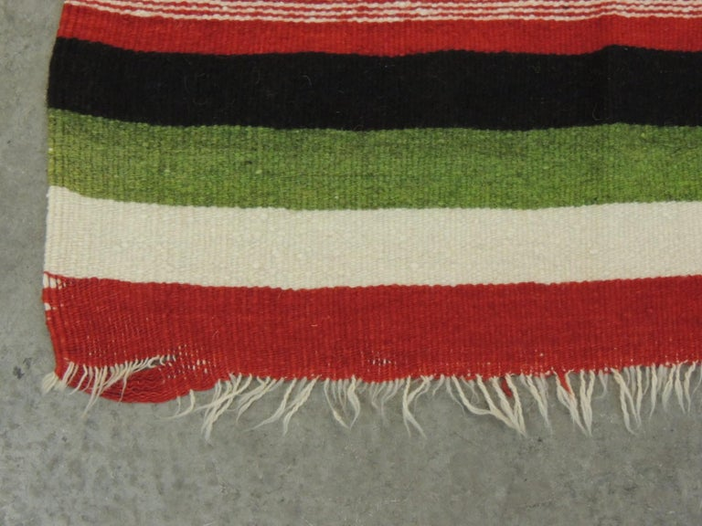 Large Vintage Woven Peruvian Throw with Fringes For Sale 1