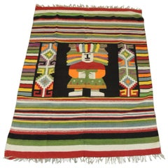 Large Vintage Woven Peruvian Throw with Fringes
