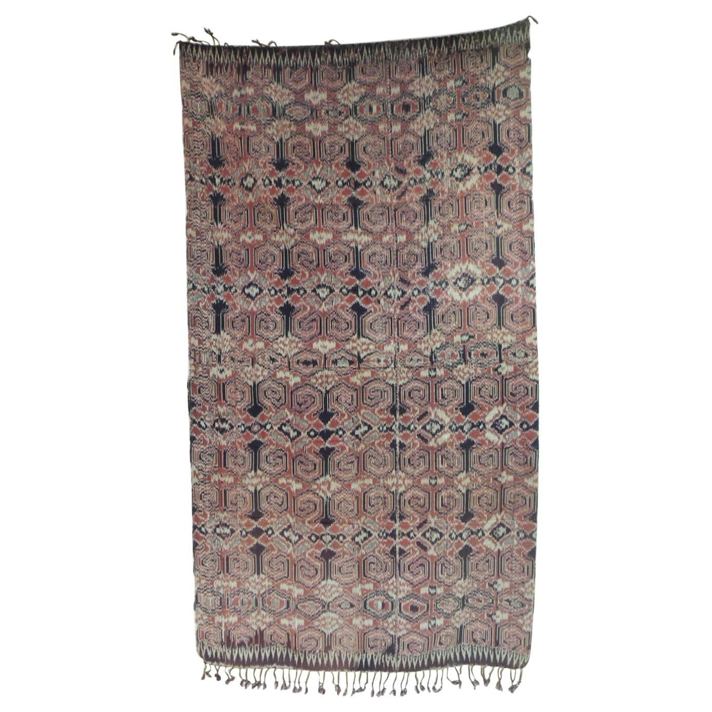 Large Vintage Woven Red Ikat Tribal Pattern Textile Panel with Fringes