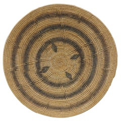 Large Vintage Woven Seagrass Ethnic Round African Basket