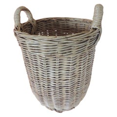 Large Vintage Woven Willow Basket with Handles