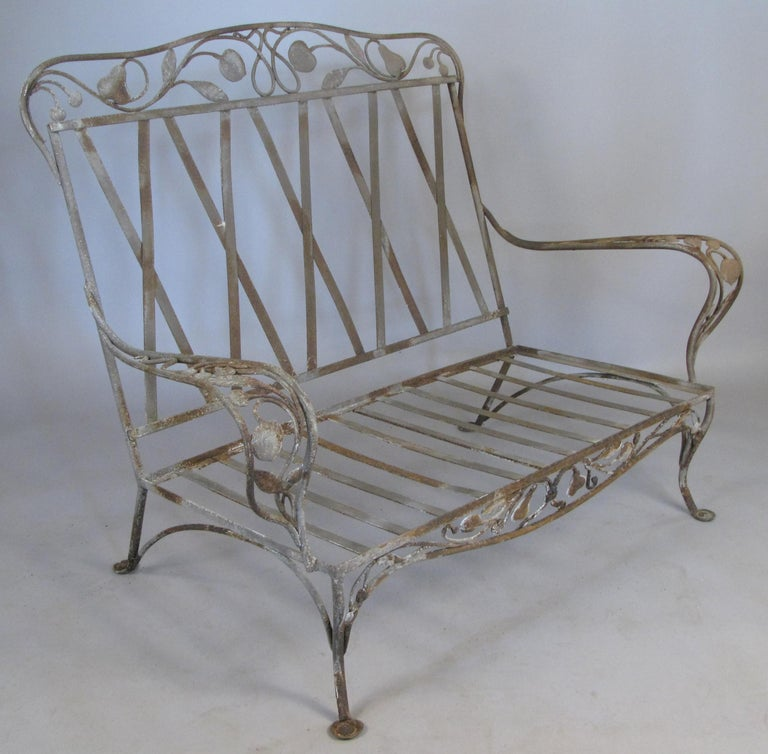 American Large Vintage Wrought Iron Settee by Salterini For Sale