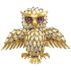 Large Vintage Yellow Gold Enamel and Gem Set Owl Clip Brooch