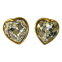 Large Vintage Yves Saint Laurent Heart Diamanté Earrings