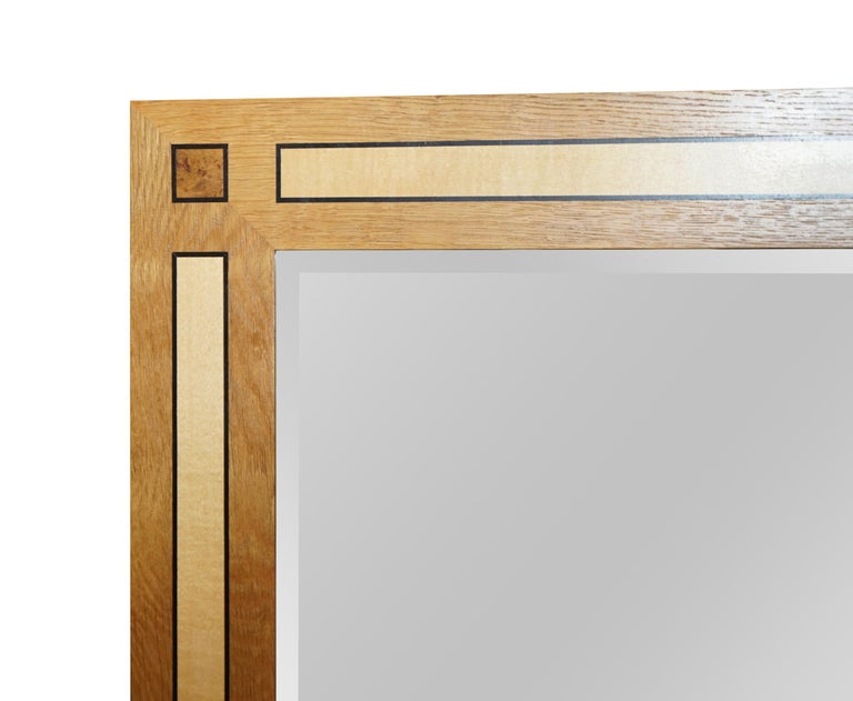 We are delighted to offer this absolutely exquisite original stamped Viscount David Linley overmantel wall mirror in Sycamore, burr walnut and satinwood  The mirror truly is impressive, it weighs an absolute tonne, it must be 80kgs, the bevelled