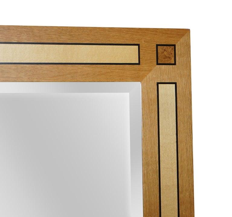 Modern Large Viscount David Linley Burr Walnut Satinwood & Sycamore Overmantle Mirror For Sale