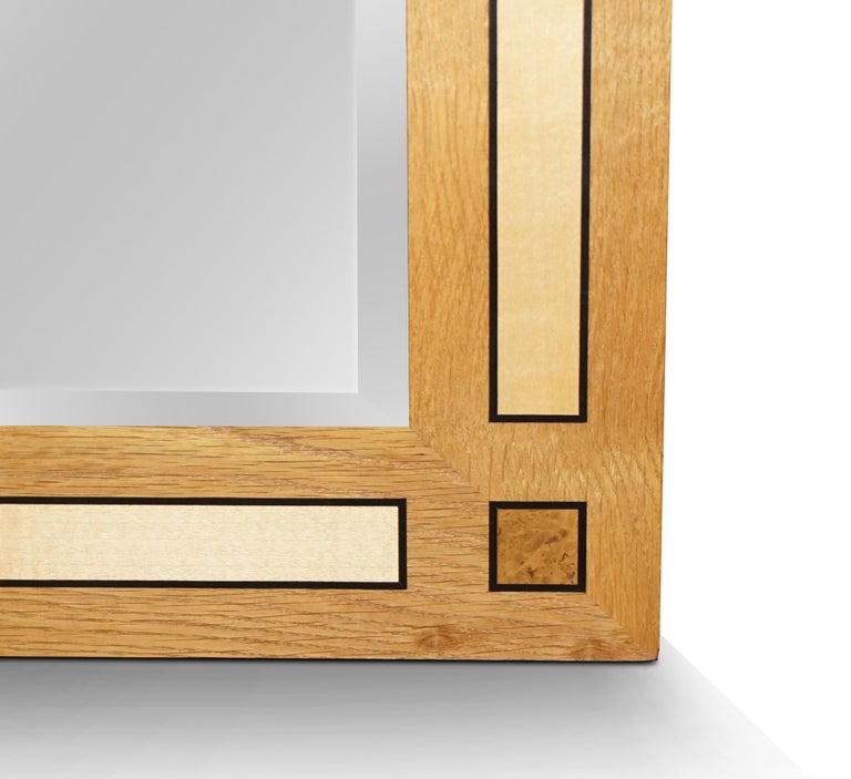 British Large Viscount David Linley Burr Walnut Satinwood & Sycamore Overmantle Mirror For Sale