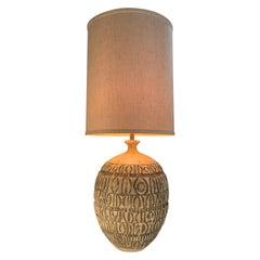 Large Volcanic Ceramic 1950's Lamp