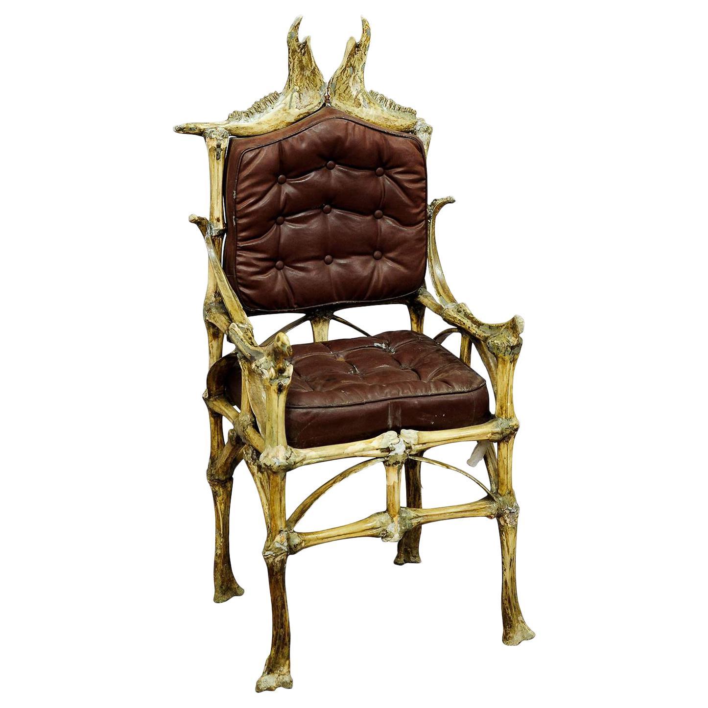 Large Wacky Bull Bone Throne Chair, circa 1930