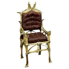 Large Wacky Bull Bone Throne Chair, circa 1930