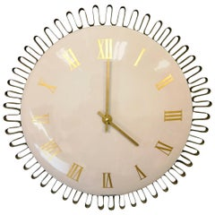 Large Wall Art Deco Clock in Enamel and Brass