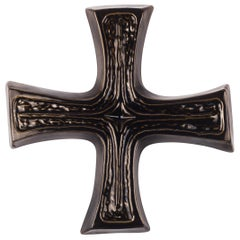 Large Wall Cross, Brown Glazed Ceramic, Handmade in Belgium, 1970s