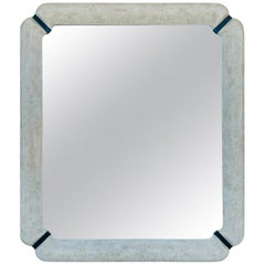 Large Wall Mirror in Tessellated Stone, Bone and Brass