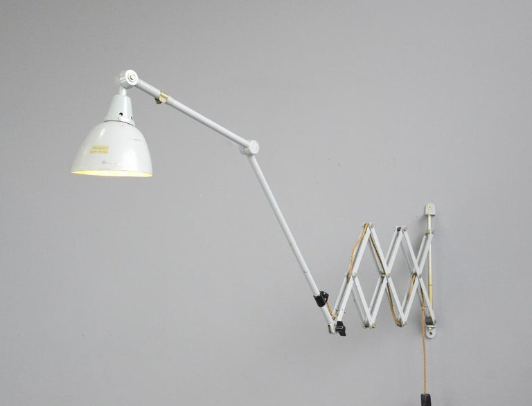 Large Wall-Mounted Scissor Lamp by Midgard, circa 1960s For Sale 4