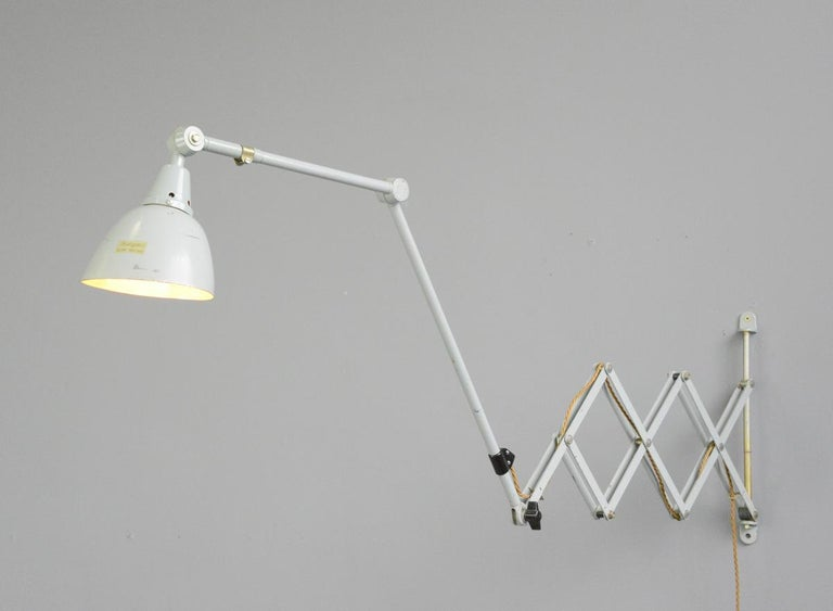 Large Wall-Mounted Scissor Lamp by Midgard, circa 1960s For Sale 5