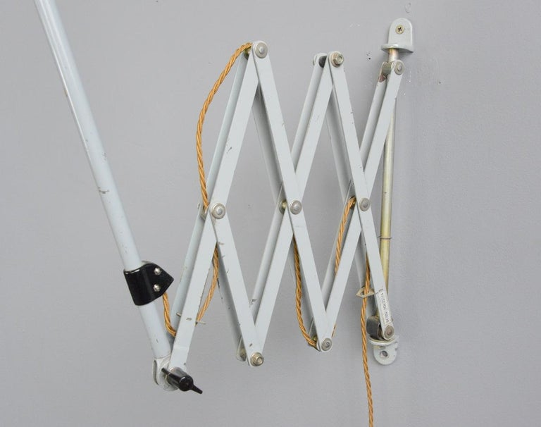 Large Wall-Mounted Scissor Lamp by Midgard, circa 1960s In Good Condition For Sale In Gloucester, GB