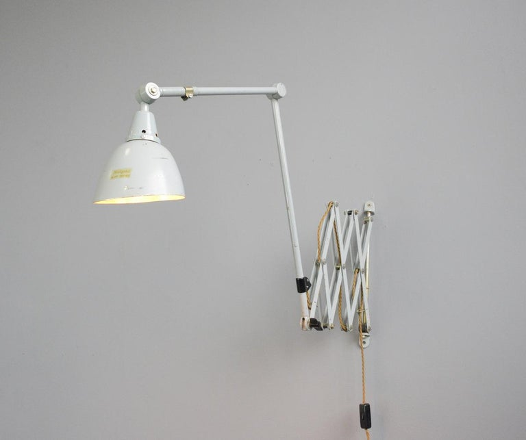 Mid-20th Century Large Wall-Mounted Scissor Lamp by Midgard, circa 1960s For Sale