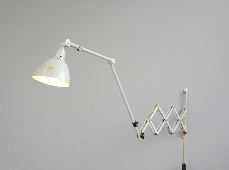 Steel Large Wall-Mounted Scissor Lamp by Midgard, circa 1960s For Sale