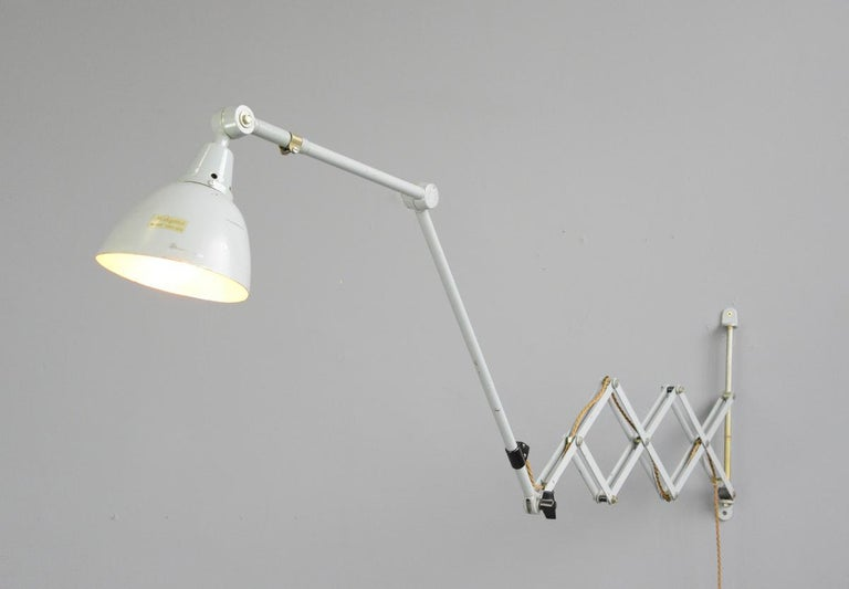 Large Wall-Mounted Scissor Lamp by Midgard, circa 1960s For Sale 1