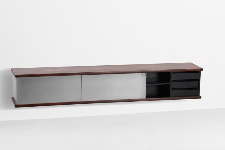 European Large Wall Mounted Sideboard Attributed to Osvaldo Borsani For Sale