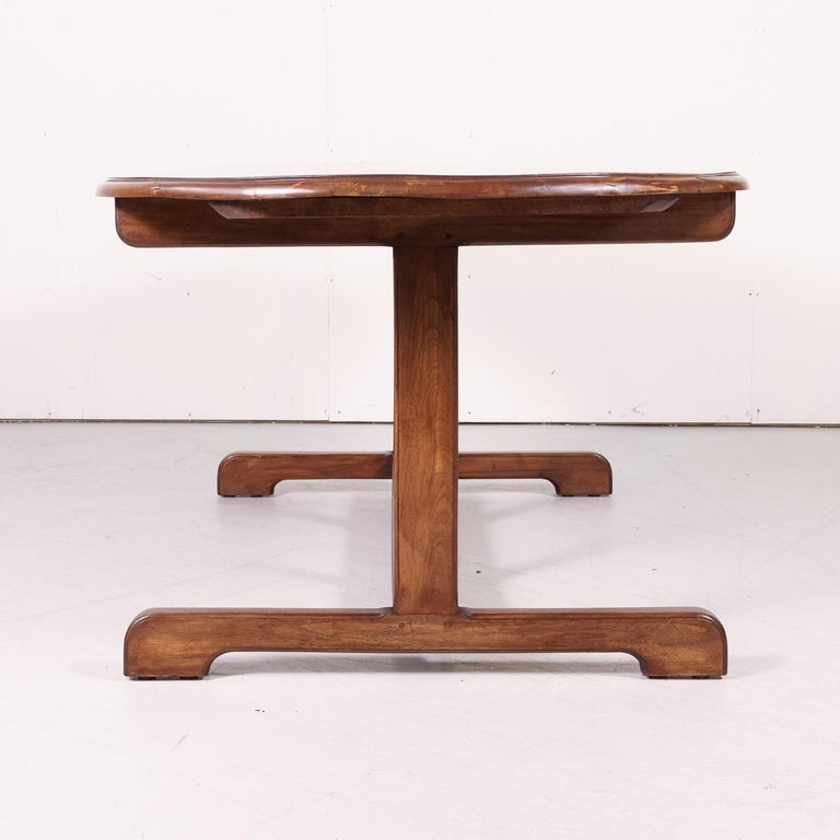 Large Walnut 19th Century French Oval Vendange Table or Wine Tasting Table For Sale 8