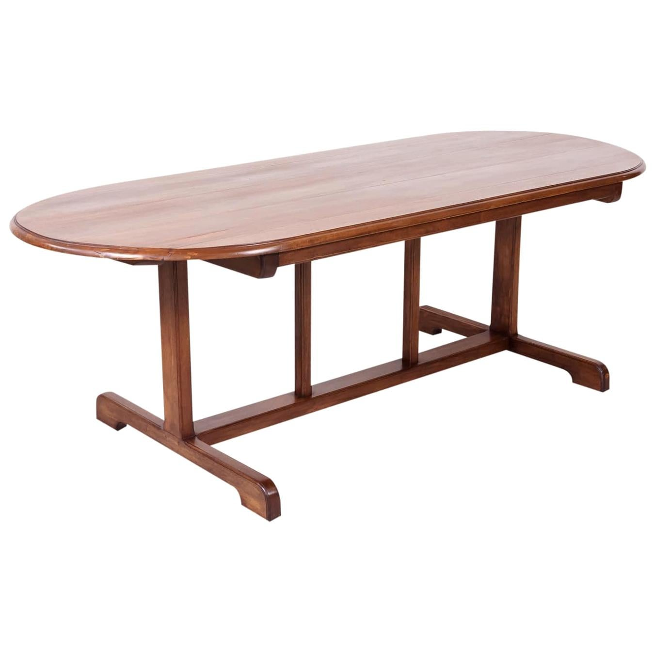 Large Walnut 19th Century French Oval Vendange Table or Wine Tasting Table