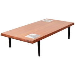 Large Walnut Coffee Table with Ceramic Tiles by Capron