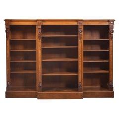 Large Walnut Dwarf Open Bookcase