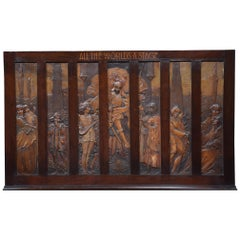 Large Walnut Framed Wall Plaque All the Worlds a Stage